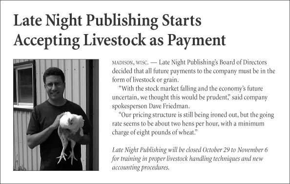 Late Night Publishing Starts Accepting Livestock as Payment
