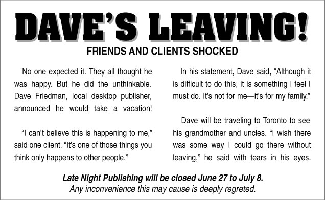 Dave's Leaving