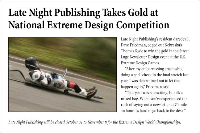 Late Night Publishing Takes Gold at National Extreme Design Competition