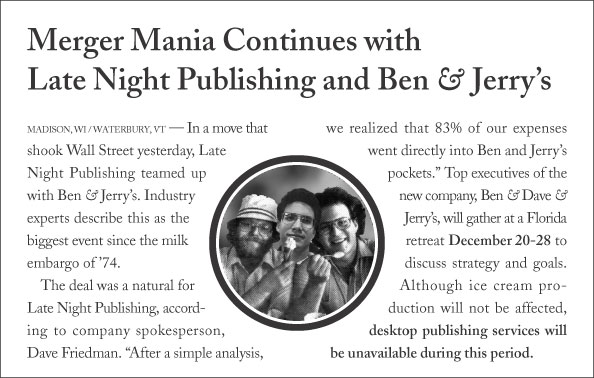 Merger Mania Continues with Late Night Publishing and Ben & Jerry's