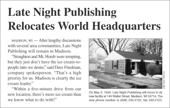 Late Night Publishing Relocates World Headquarters