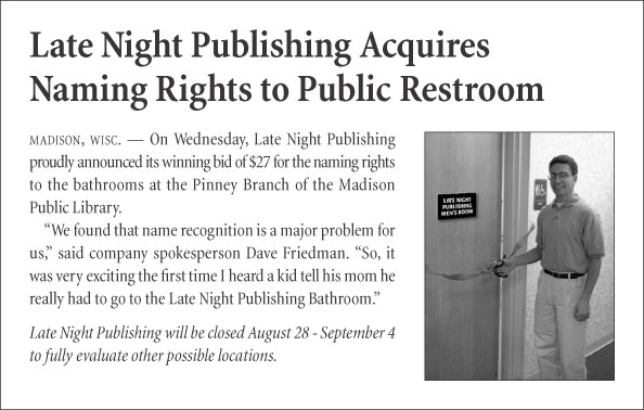 Late Night Publishing Acquires Naming Rights to Public Restroom